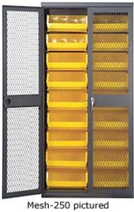 "Mesh Door Security Cabinet - 36""W x 18""D x 78""H w/ with 18 bins"