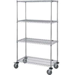"Mobile Wire Shelving, 4 Shelves, 24""W x 60""L x 69""H"