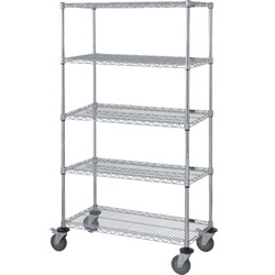 "Mobile Wire Shelving, 5 Shelves, 24""W x 48""L x 80""H"