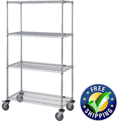 "Mobile Wire Shelving, 4 Shelves, 18""W x 36""L x 69""H"