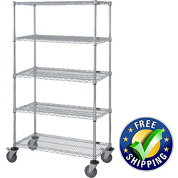 "Mobile Wire Shelving, 5 Shelves, 18""W x 60""L x 69""H"