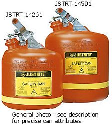 "5-gal. Polyethylene Type I Flammables Can, stainless steel hardware, 10.75"" x 16"""