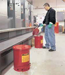 Red Oily Waste Can, 10-gal., with hand operated cover