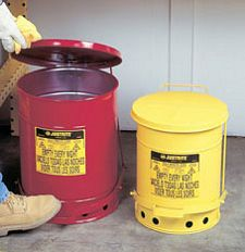Yellow Oily Waste Can, 14-gal. with foot operated cover