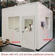 Modular In-Plant Office - 8' L x 8' W x 8' H, W/ 3 Walls