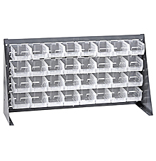 "Bench Rack w/ 32 Clear View 5-3/8"" x 4-1/8"" x 3"" Bins"