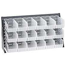 "Bench Rack w/ 18 Clear View 5-3/8"" x 4-1/8"" x 3"" Bins"