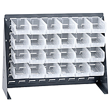"Bench Rack w/ 24 Clear View 5-3/8"" x 4-1/8"" x 3"" Bins"