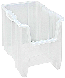 "Clear View Heavy-Duty Stacking Containers -17-1/2"" x 10-7/8"" x 12-1/2"", Carton of 4"