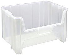 "Clear View Heavy-Duty 15-1/4"" x 19-7/8"" x 12-7/16"" Stacking Containers - Qty: 3"