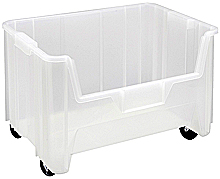 "Clear View Mobile Heavy-Duty 15-1/4"" x 19-7/8"" x 12-7/16"" Stacking Containers - Qty: 3"