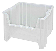 "Clear View Heavy-Duty Stacking Containers -17-1/2"" x 16-1/2"" x 12-1/2"", Carton of 2"