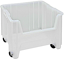 "Clear View Mobile Heavy-Duty Stacking Containers -17-1/2"" x 16-1/2"" x 12-1/2"", Carton of 2"