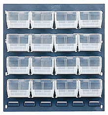 "Louvered Panel (Gray) w/ 16 Clear View 5-3/8"" x 4-1/8"" x 3"" Bins - 18""W x 19""H"