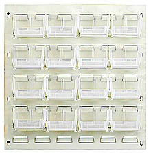 "Louvered Panel - Gray, 18""W x 19""H w/ 16 Clear View 5-3/8"" x 4-1/8"" x 3"" Bins"