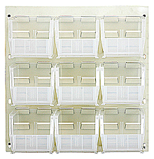 "Louvered Panel - Oyster White, 18""W x 19""H w/ 9 Clear View 10-7/8"" x 5-1/2"" x 5"" Bins"