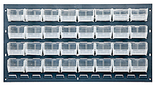 "Louvered Panel (Gray) w/ 32 Clear View 5-3/8"" x 4-1/8"" x 3"" Bins - 36""W x 19""H"
