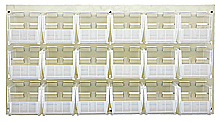 "Louvered Panel - Oyster White, 36""W x 19""H w/ 18 Clear View 10-7/8"" x 5-1/2"" x 5"" Bins"