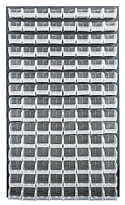 "Louvered Panel (Gray) w/ 120 Clear View 5-3/8"" x 4-1/8"" x 3"" Bins - 36""W x 61""H"