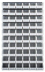"Louvered Panel - Gray, 36""W x 61""H w/ 60 Clear View 10-7/8"" x 5-1/2"" x 5"" Bins"