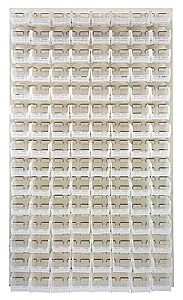 "Louvered Panel - Oyster White, 36""W x 61""H w/ 120 Clear View 7-3/8"" x 4-1/8"" x 3"" Bins"