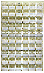 "Louvered Panel (Beige) w/ 60 Clear View 5-3/8"" x 4-1/8"" x 3"" Bins - 36""W x 61""H"
