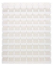 "Louvered Panel - Oyster White, 48""W x 61""H w/ 80 Clear View 10-7/8"" x 5-1/2"" x 5"" Bins"