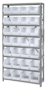 "Steel Shelving w/ 8 Shelves, 28 Clear View 14-3/4"" x 8-1/4"" x 7"" Bins"