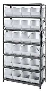 "Steel Shelving w/ 7 Shelves, 24 Clear View 18"" x 8-1/4"" x 9"" Bins"