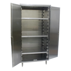 "Stainless Steel Cabinet with Flat Top - 24"" x 48"" - 3 Shelves"