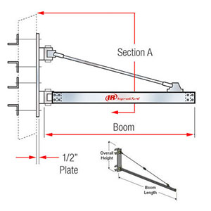 "Wall-Mounted Jib Crane, 2,000 lbs. cap., 8' Boom Length, 44""H w/ 3/8-in. Air Supply"