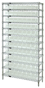 "Wire Shelving w/ 12 Shelves & 77 Clear View 11-5/8"" x 4-1/8"" x 4"" Bins"