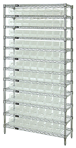 "Wire Shelving w/ 12 Shelves & 77 Clear View 23-5/8"" x 4-1/8"" x 4"" Bins"