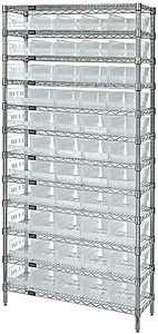 "Wire Shelving w/ 12 Shelves & 55 Clear View 23-5/8"" x 6-5/8"" x 4"" Bins"