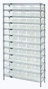 "Wire Shelving w/ 12 Shelves & 44 Clear View 17-7/8"" x 8-3/8"" x 4"" Bins"