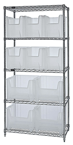 Wire Shelving w/ 5 Shelves & 10 Mixed Size Clear View  Bins