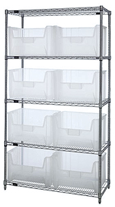 "Wire Shelving w/ 5 Shelves & 8 Clear View 15-1/4"" x 19-7/8"" x 12-7/16"" Bins"
