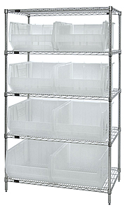 "Chrome Wire Shelving w/ 5 Shelves & 8 Clear View 23-7/8"" x 18-1/4"" x 12"" Bins"