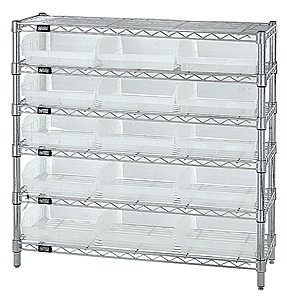 "Wire Shelving w/ 6 Shelves & 15 Clear View 11-5/8"" x 11-1/8"" x 4"" Bins"