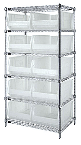 "Chrome Wire Shelving w/ 6 Shelves & 10 Clear View 23-7/8"" x 16-1/2"" x 11"" Bins"