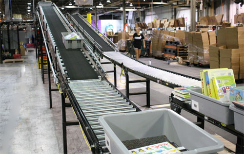 inclined conveyor to shipping area at EDC distribution center