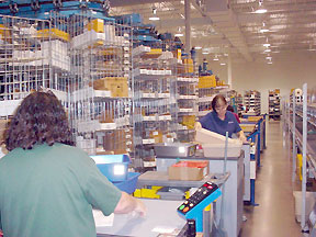 order picking carousels at Mouser DC