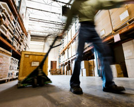 warehouse worker, pallet rack, pallet jack