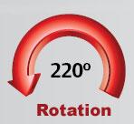 220-degree boom rotation