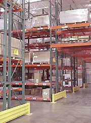 pallet rack with end of row guard rails