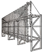 Offset mounted pallet rack safety net