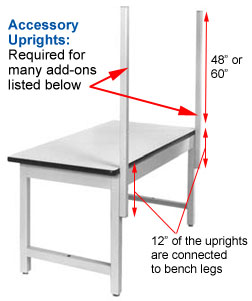 work bench accessory uprights